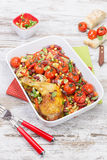 Baked Chicken With Vegetables And Herbs Royalty Free Stock Image