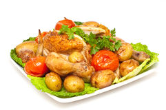 Baked chicken with vegetables isolated Royalty Free Stock Image