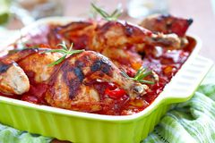 Baked chicken with vegetables Royalty Free Stock Image