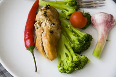 Baked chicken with vegetables: sport food Royalty Free Stock Image
