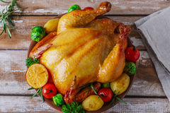 Baked chicken with vegetables Royalty Free Stock Images