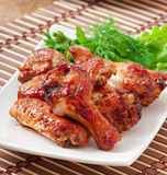 Baked chicken wings in the Asian style Royalty Free Stock Photo