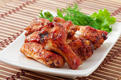 Baked chicken wings in the Asian style Royalty Free Stock Photography