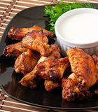 Baked chicken wings in the Asian style Stock Image