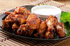 Baked chicken wings in the Asian style Royalty Free Stock Images
