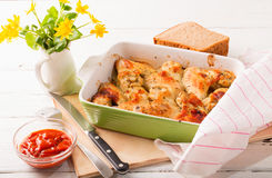 The baked chicken wings with a ruddy crust Royalty Free Stock Photos