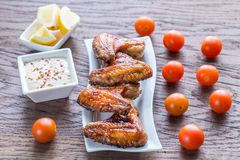 Baked chicken wings with spicy sauce Royalty Free Stock Photo