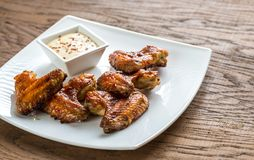 Baked chicken wings with spicy sauce Stock Photo
