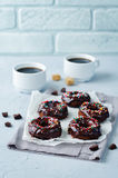 Baked chocolate doughnuts with chocolate glaze Stock Image