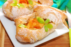 Baked ciabatta stuffed with mushrooms,eggs and cheese Stock Image