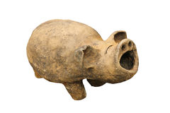 Baked-clay pig on white background, Thailand Stock Image