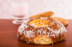 Baked coconut bun and cookies Stock Images