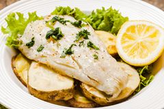 Baked cod fillet Stock Photography