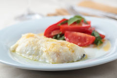 Baked cod fillet with salad Royalty Free Stock Photos