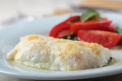 Baked cod fillet with salad Stock Photography