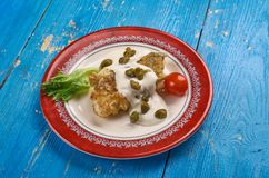 Baked Cod Piccata. Italian dis close up Royalty Free Stock Photos
