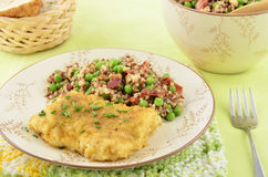 Baked cod with quinoa salad Royalty Free Stock Images