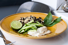 Baked cod with rice and mushrooms Royalty Free Stock Photo