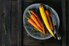 Baked colorful carrots Royalty Free Stock Photo
