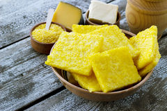 Baked cornmeal slices polenta Royalty Free Stock Images