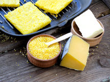 Baked cornmeal slices polenta Stock Images