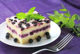 Baked cottage cheese pudding with blueberries Stock Photo