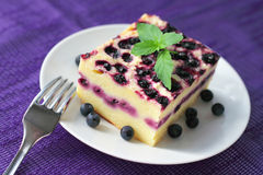 Baked cottage cheese pudding with blueberries Stock Photos