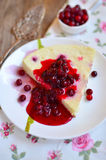 Baked cottage cheese pudding with cranberries Stock Photo