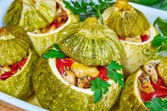 Baked courgettes stuffed with meat Royalty Free Stock Photo