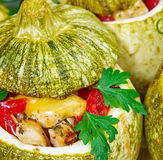 Baked courgettes stuffed with meat Stock Images