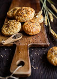 Baked crackling cookies sprinkled with cumin Royalty Free Stock Photo