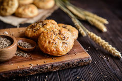 Baked crackling cookies sprinkled with cumin Royalty Free Stock Photos