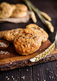 Baked crackling cookies sprinkled with cumin Stock Images