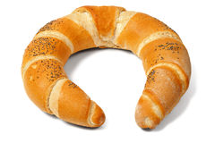 Baked crescent on white royalty free stock photos