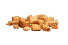 Baked croutons on a white Stock Photos