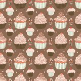 Baked Cupcakes Food Vector Pattern royalty free illustration