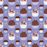 Baked Cupcakes Food Vector Pattern Seamless vector illustration