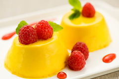 Baked custard dessert with raspberries Stock Images