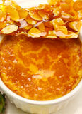 Baked Custard And Praline Stock Photo