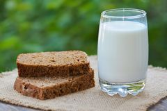 The baked cut rye bread and glass with milk Stock Image