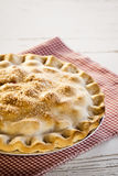 Baked Dessert Pie On Table. A baked pie for dessert with a golden sugared crust on a checkered cloth on top of a weathered wooden table. Text space or room for royalty free stock photography