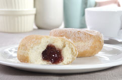Baked donut with sugar on a plate Royalty Free Stock Photography