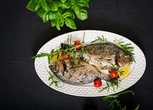 Baked dorado fish in garlic dill sauce and lemon Royalty Free Stock Images