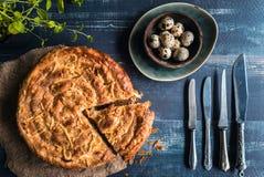 Baked double cheese pie Stock Photos