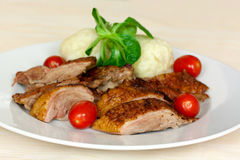 Baked Duck Slices with Dumplings,Cherry Tomatoes,G Stock Photos