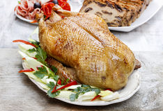 Baked duck on wooden table Stock Photography