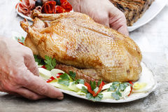 Baked duck on wooden table Royalty Free Stock Photo