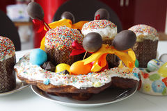 Baked easter basket on the table Royalty Free Stock Image
