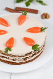 Baked easter carrot cake with icing and little Stock Image