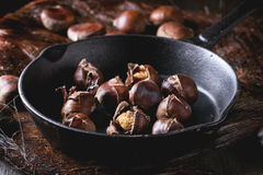 Baked edible chestnuts Stock Photo